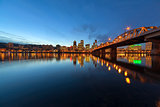 Portland Downtown Skyline by Hawthorne Bridge at Blue Hour