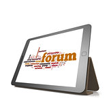 Forum word cloud on tablet