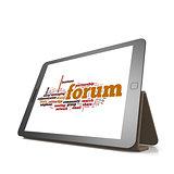 Forum word cloud on tablet