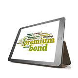 Premium bond word cloud on tablet