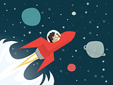 Red rocket with businessman in space
