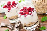 Yogurt with muesli and raspberries