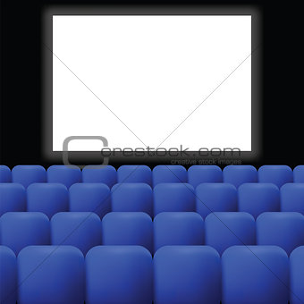 cinema with blue curtain