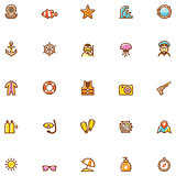 Sea vacations icon set