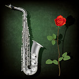 abstract grunge background with saxophone and rose