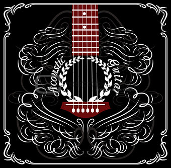 background with black acoustic guitar