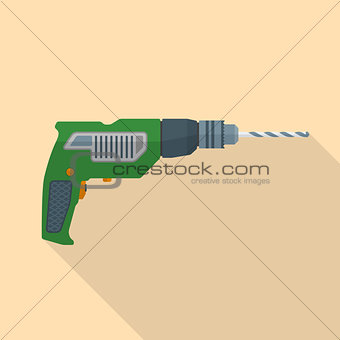 flat style electric hand drill icon with shadow