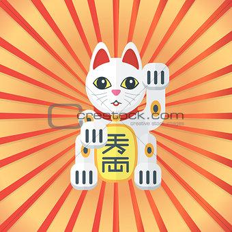 flat style maneki cat icon on radiant background