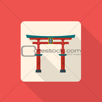 flat style japan gate torii icon with shadow