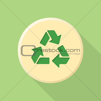 flat style recycle sign icon with shadow