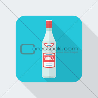 flat style vodka bottle icon with shadow
