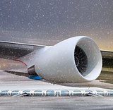 turbine of plane at non-flying weather