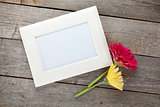Two colorful gerbera flowers and photo frame