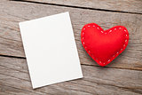 Photo frame or greeting card and handmaded valentines day hearts
