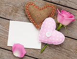 Valentines day blank greeting card with handmaded hearts