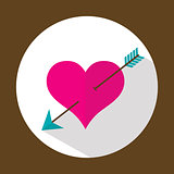 Valentine heart, flat icon with long shadow, vector