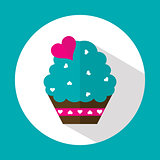 Valentine cake, flat icon with long shadow, vector
