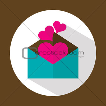 Valentine letter, flat icon with long shadow, vector