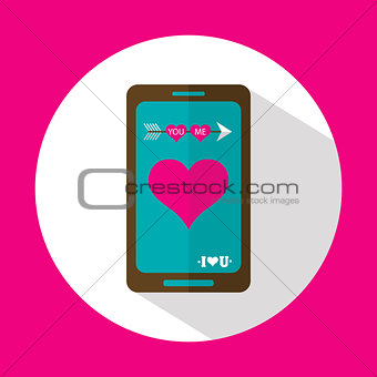 Valentine message, flat icon with long shadow, vector