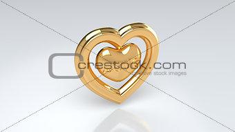 Pair of golden hearts