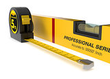 spirit level and tape measure