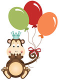 Monkey holding balloons