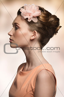 beauty woman in profile