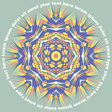 Mandala Round Pattern With Text Vector