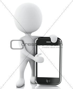 3d white people next to the smartphone.