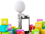 3d people with mobile phone and app icons on white background.