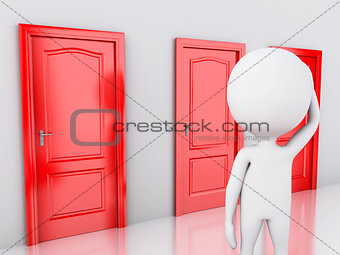 3d white people and three doors, doubtful. Choice concept