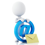 3d white people with email symbol and envelope.