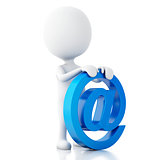 3d white people with email symbol. Isolated white