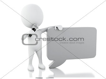 3d white people with a blank speech bubble. Communication concep