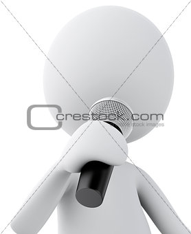 3d white man with Microphone. Isolated white background.