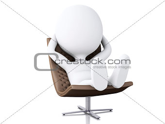 3d white people relax. Isolated white background