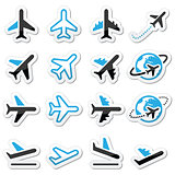 Plane, flight, airport  black and blue icons set