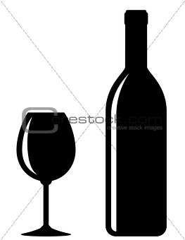 black wine bottle with glass