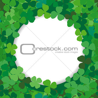 Background with a round frame of clovers