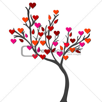 Card with love tree over white background