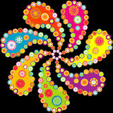 Colorful paisley spiral over black background