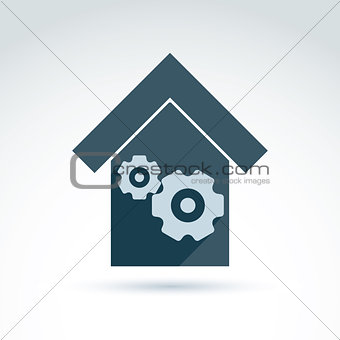 Factory icon vector.