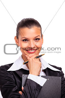 Portrait of happy young business woman