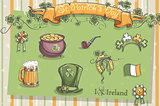 Set of different items for St. Patrick