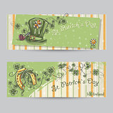 Set of horizontal banners for St. Patricks Day with leaves