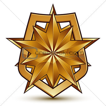 Branded golden geometric symbol, stylized golden polygonal star,