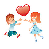 Love the boy and girl with a red heart