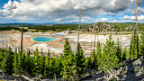 Panoramic view of Grand Prismatic spring in Yellowstone NP
