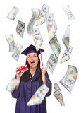 Female Graduate Holding $100 Bills with Many Falling Around Her