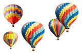 A Set of Hot Air Balloons on White
